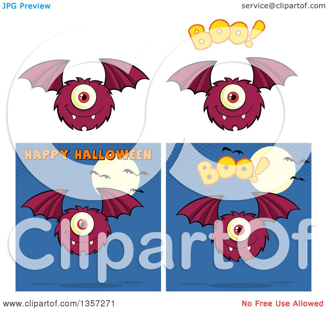 Clipart of Cartoon Bat Monsters - Royalty Free Vector Illustration ...