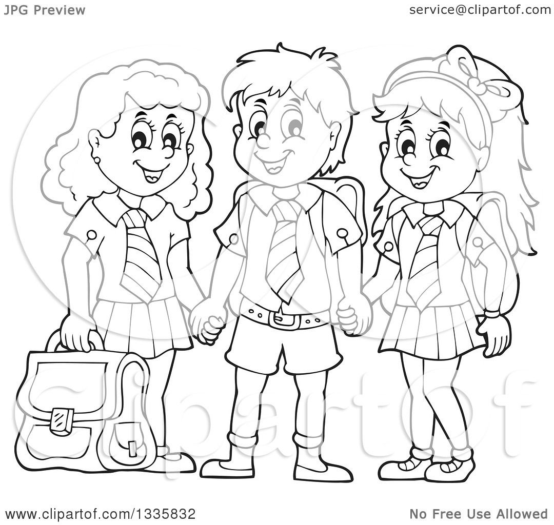 Black and white designs clipart clipart kid - Clipart Of Cartoon Black And White Happy School Children