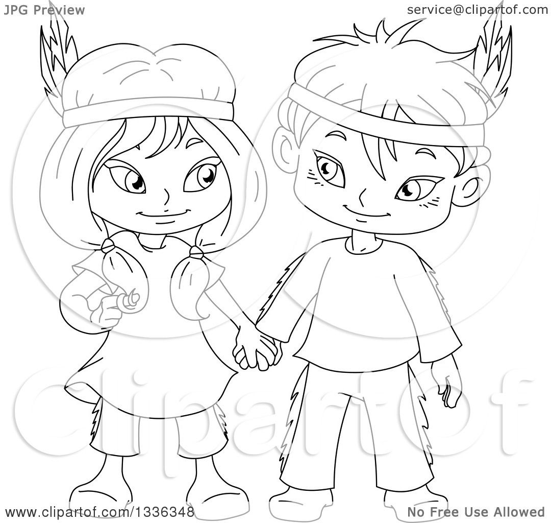 Native Americans Clipart Black And White Clipart of Cart...