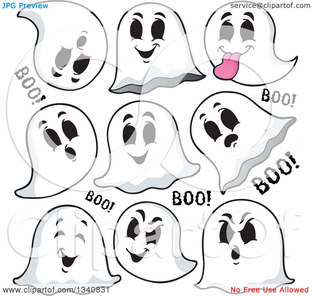 Clipart of Cartoon Halloween Ghosts Saying Boo - Royalty Free Vector Illustra...