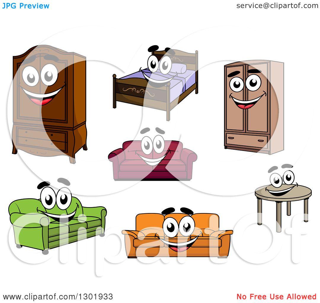 Cartoon Furniture: Clipart Of Cartoon Happy Furniture Characters
