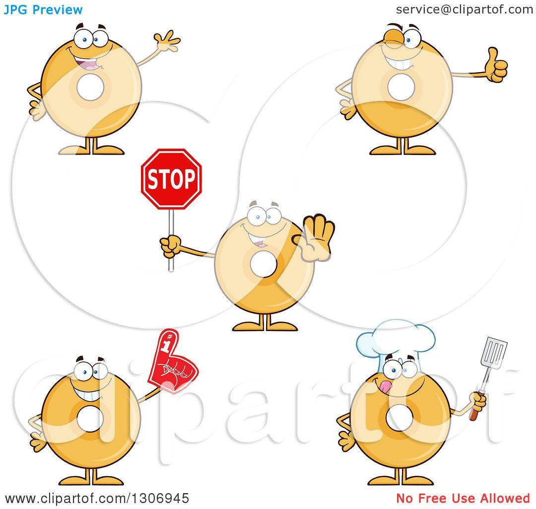 Clipart Of Cartoon Happy Round Plain Or Glazed Donut
