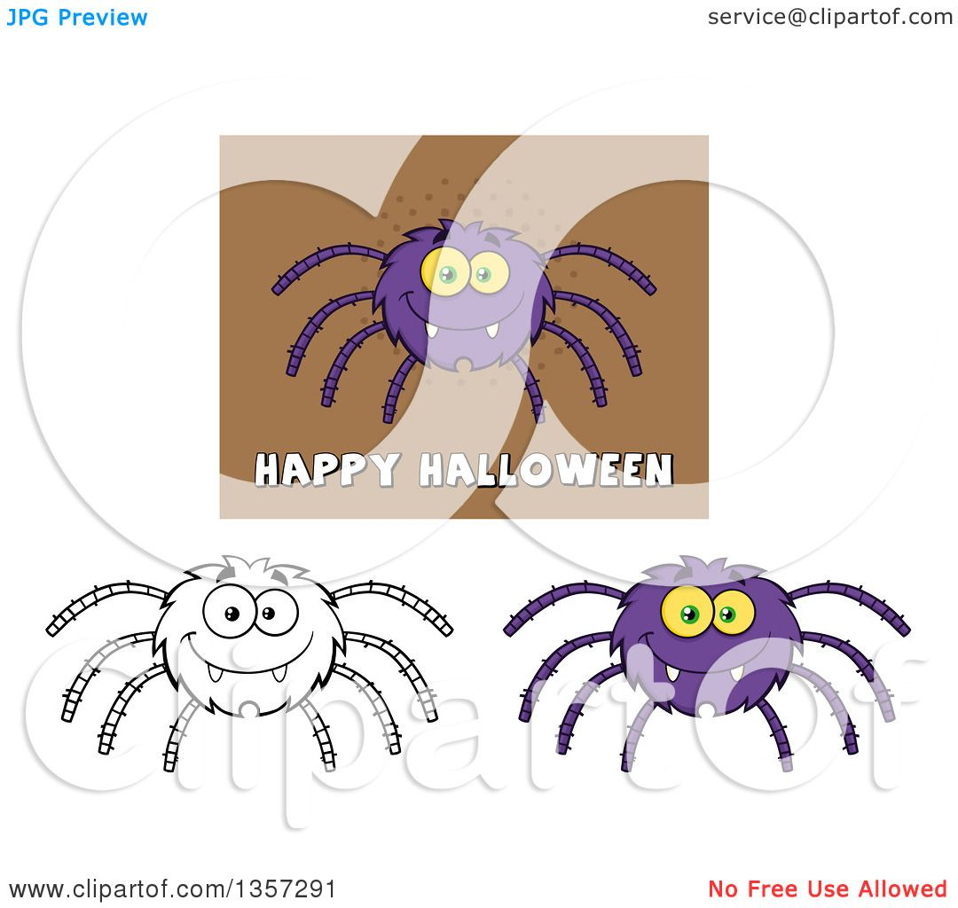 clipart of cartoon happy spiders royalty free vector