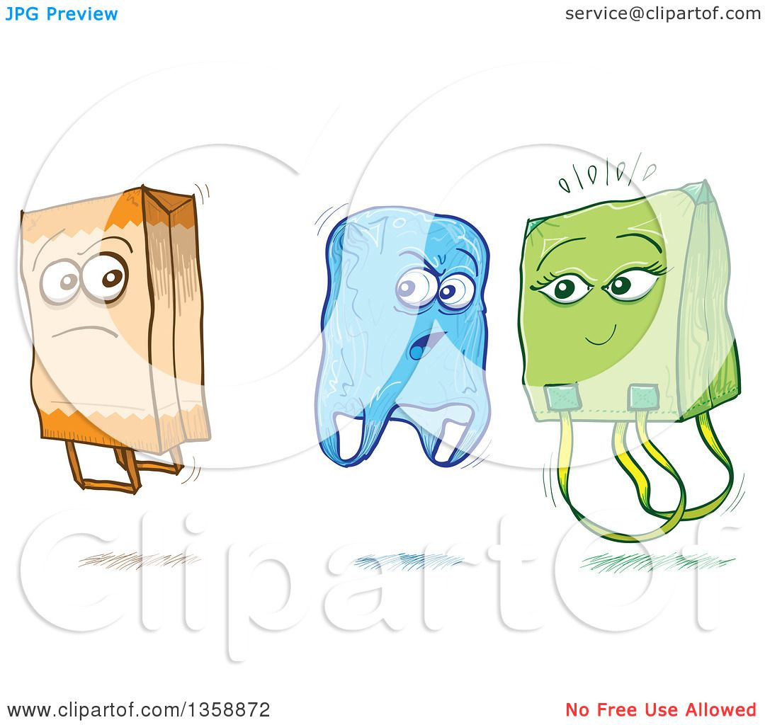 Clipart of Cartoon Sketched Plastic and Fabric Shopping Bags Criticizing a Paper Bag ...