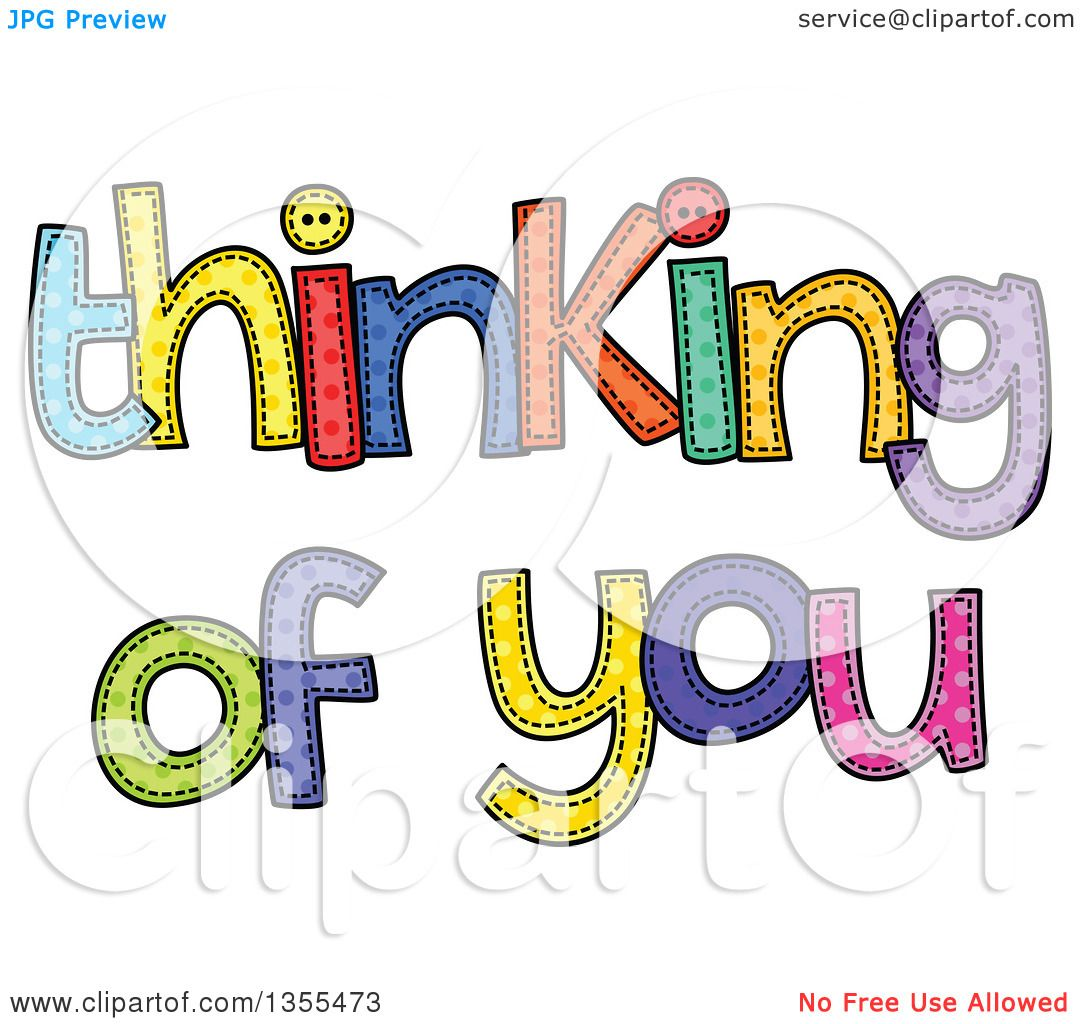 clipart of cartoon stitched words thinking of you over pink polka rh clipartof com animated thinking of you clipart thinking of you clipart images
