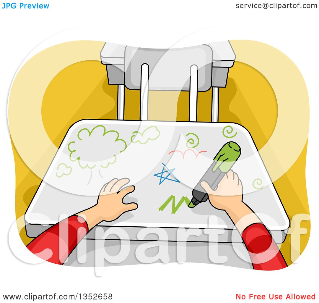 Clipart Of Cartoon Student Hands Writing On A Desk