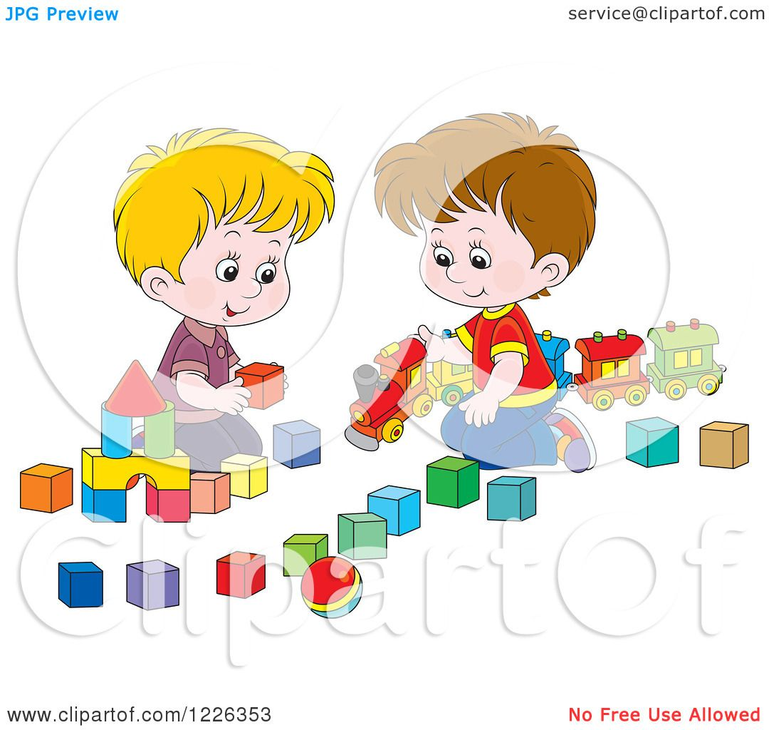 Boys Sharing Toys : Clipart of caucasian boys playing with a train and toy