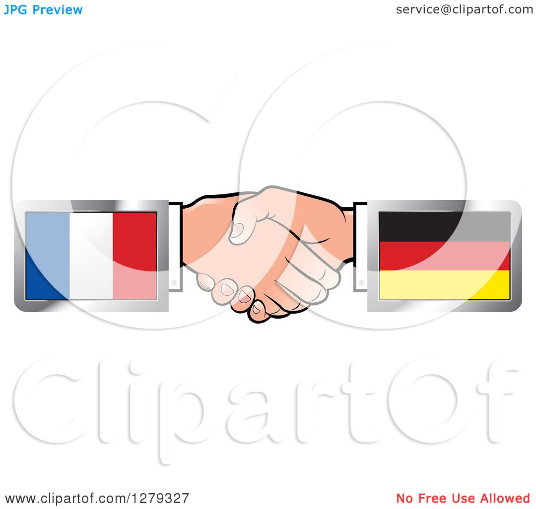 Clipart of Caucasian Hands Shaking with French and German