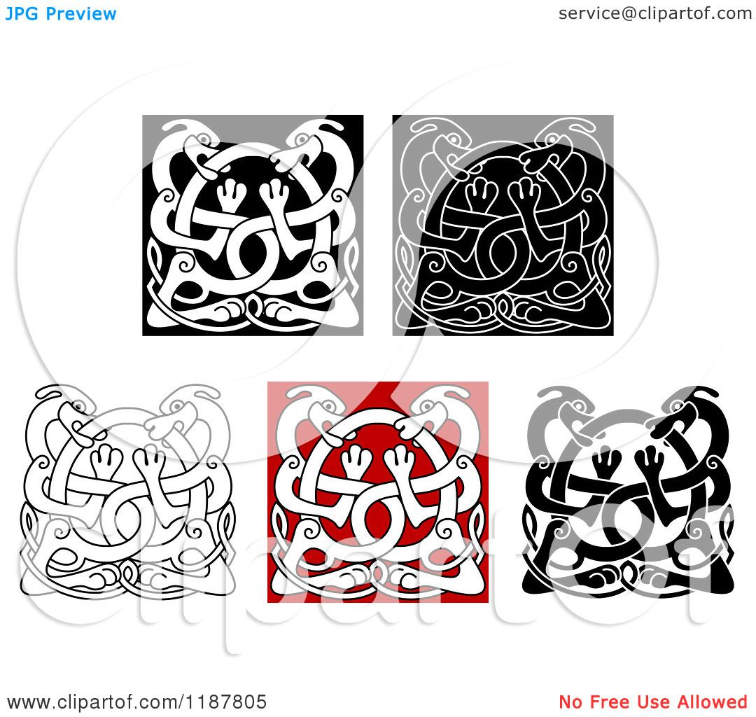 Clipart of Celtic Dog Knots - Royalty Free Vector Illustration by