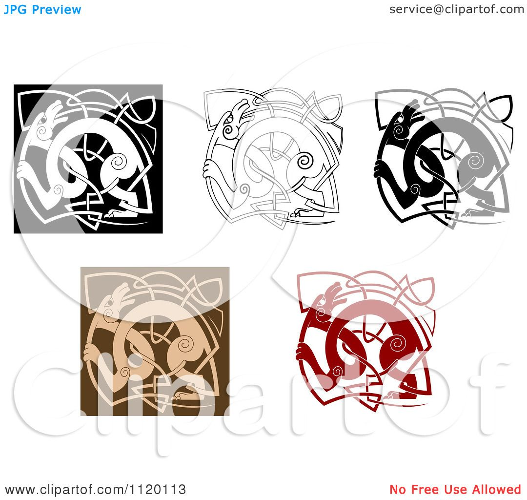 Clipart Of Celtic Dogs And Knots - Royalty Free Vector Illustration by