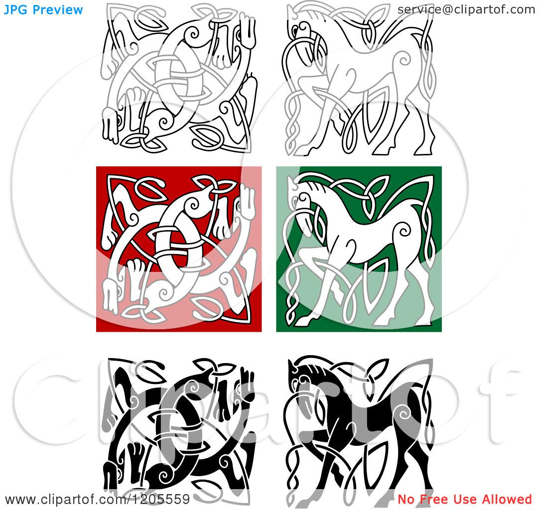 Clipart Of Celtic Horse And Dog Knot Designs Royalty