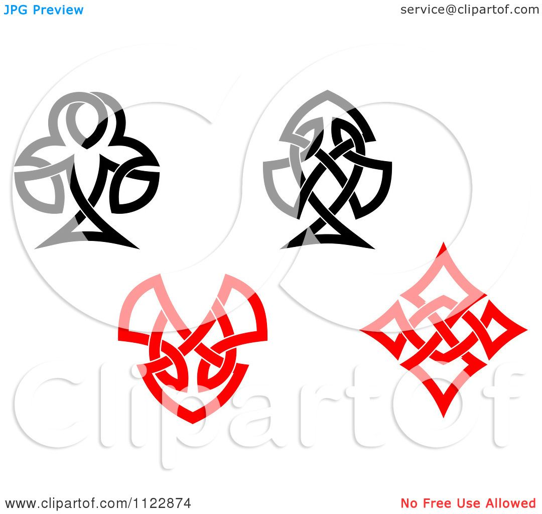 Clipart Of Celtic Knot Poker Playing Card Suite Symbols Royalty