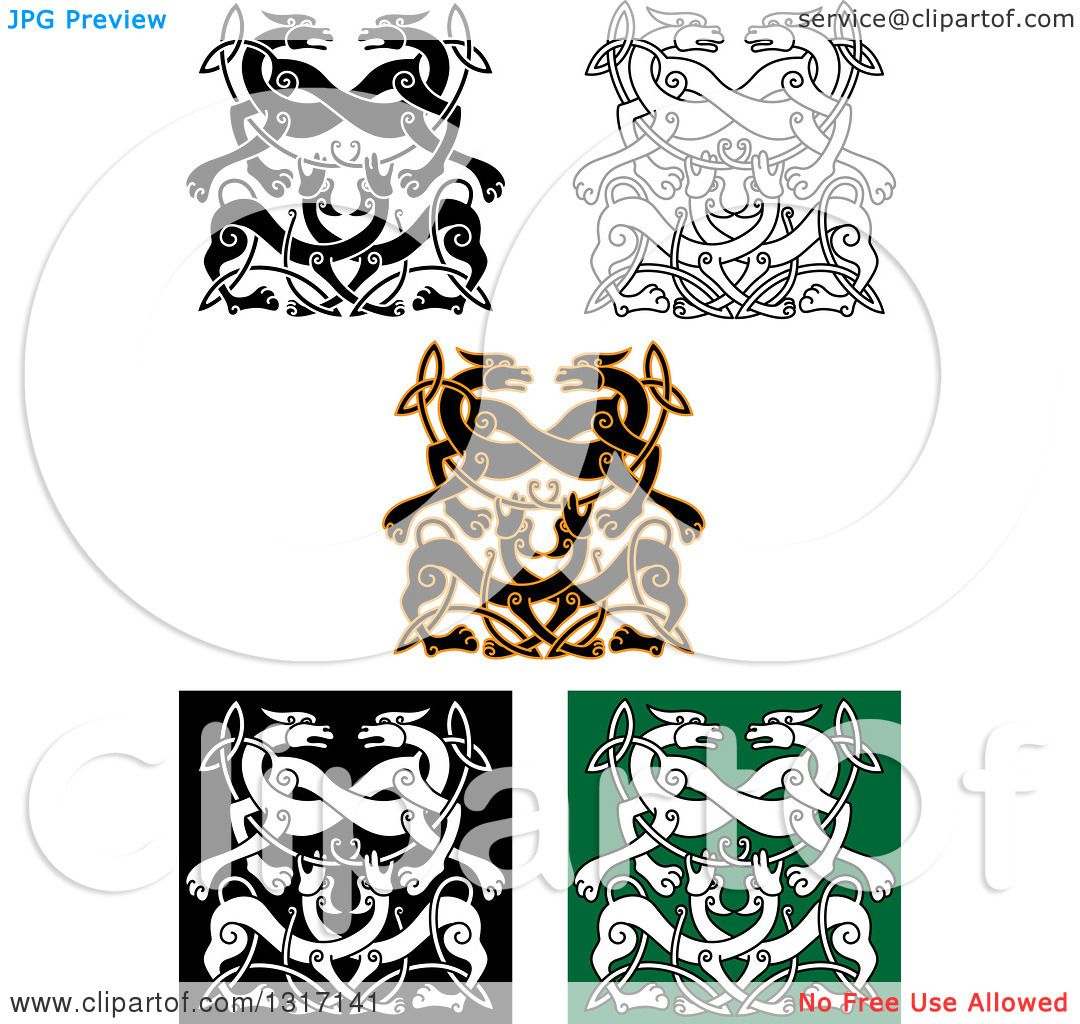 Clipart of Celtic Knot Wolf or Dog Designs - Royalty Free Vector ...