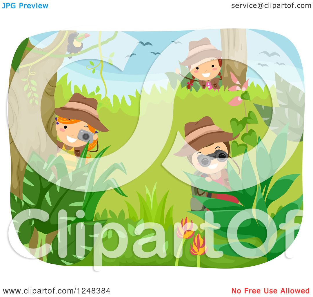 Clipart Of Children Exploring A Jungle Royalty Free