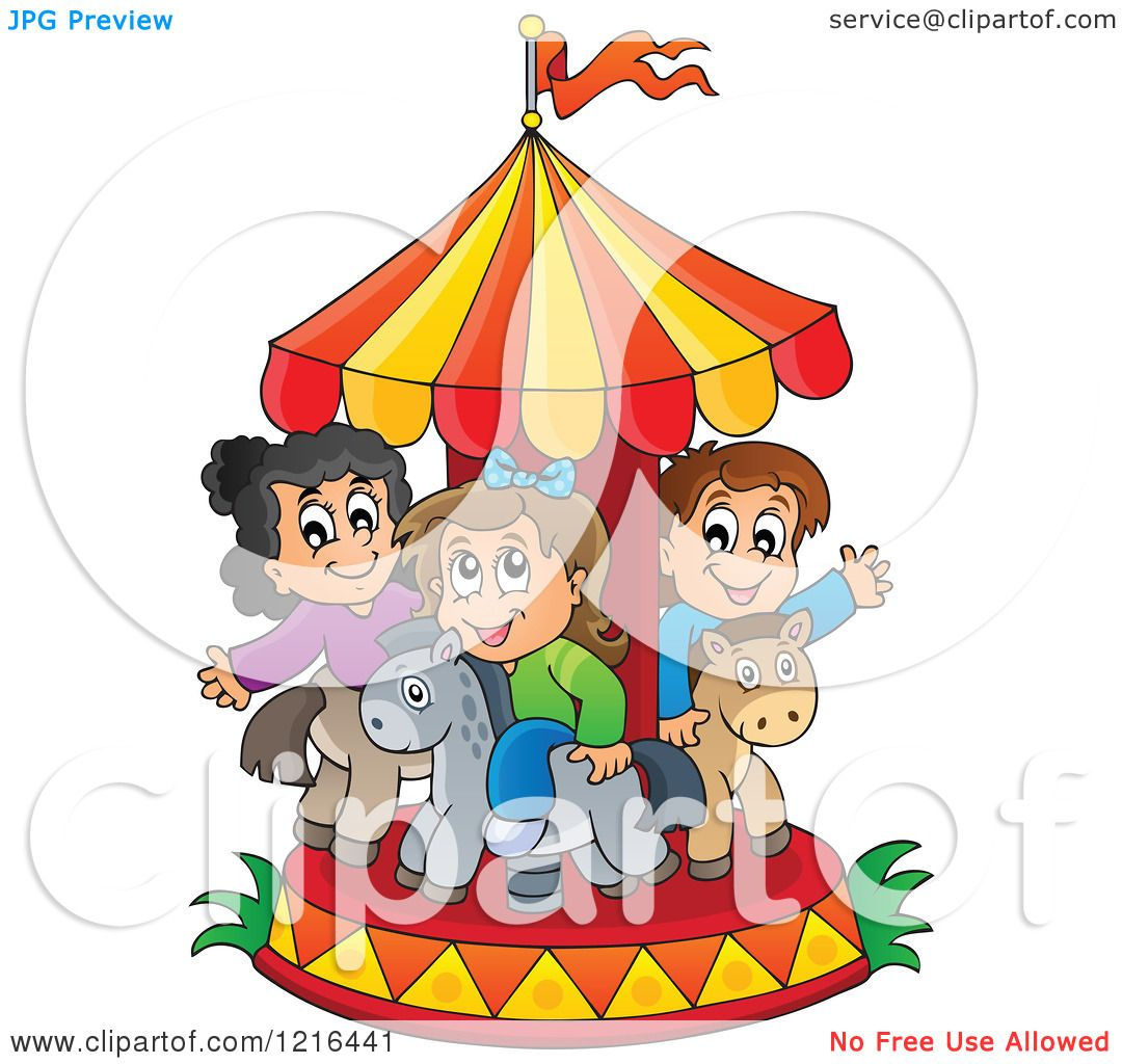 Clipart of Children Playing on a Carousel - Royalty Free Vector ...