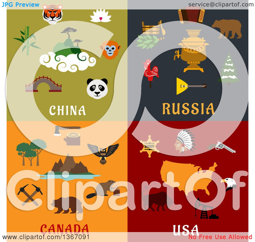 Clipart of China, Russia, Canada and USA Designs - Royalty Free ...