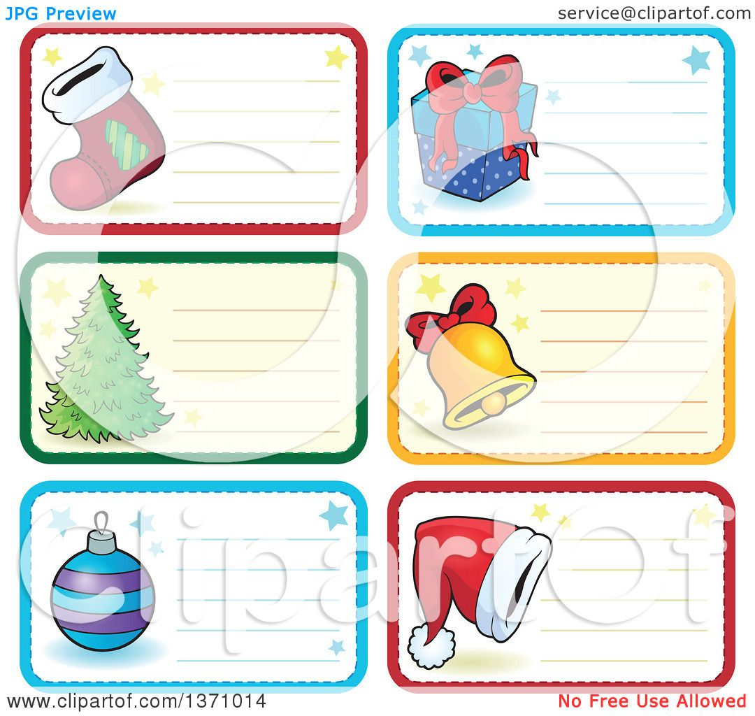 Clipart of Christmas Gift or Name Tag Labels of a Stocking, Gift ...