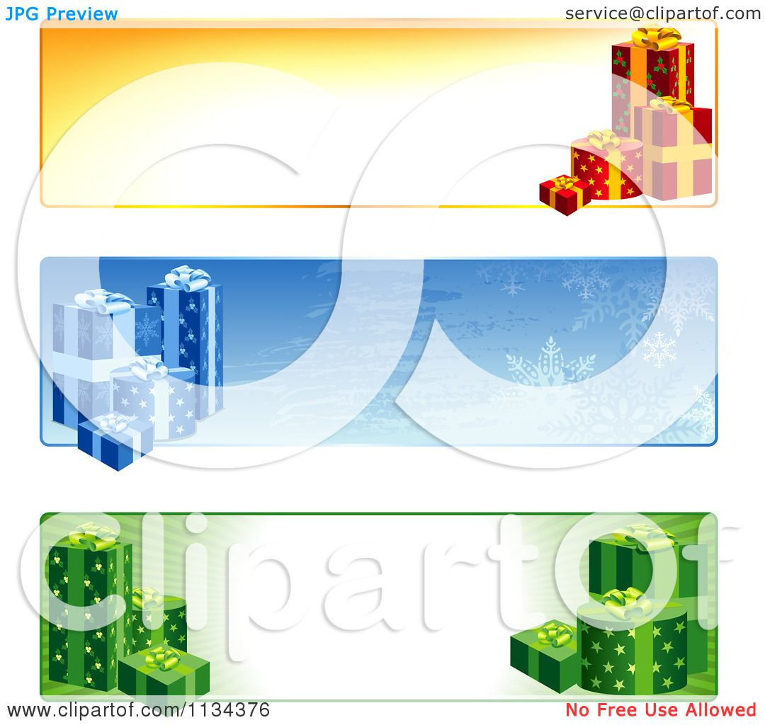 Clipart Of Christmas Gift Website Banners - Royalty Free Vector ...