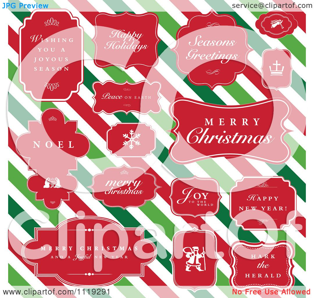Clipart Of Christmas Greetings In Red Frames Over Diagonal Stripes