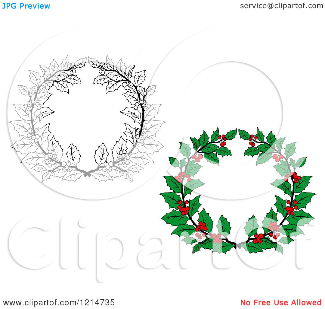 clipart of christmas holly wreaths 2 royalty free vector