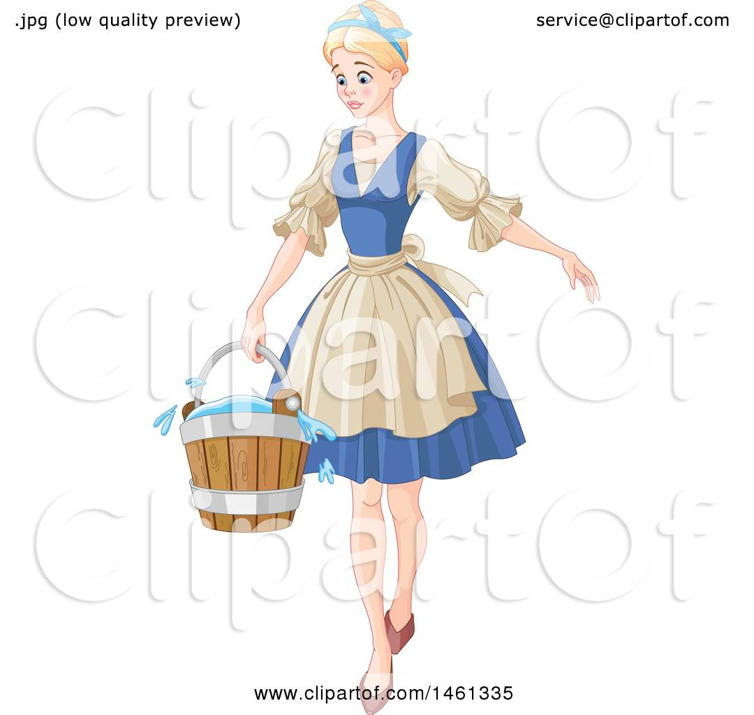 Clipart Of Cinderella Carrying A Cleaning Bucket Royalty Free