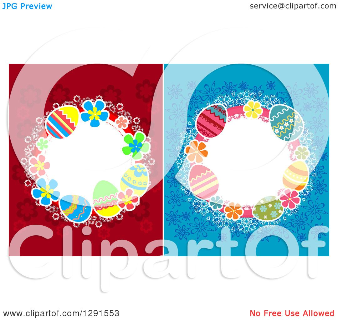 clipart of circle frames of easter eggs on red and blue flowers royalty free vector illustration by vector tradition sm - Easter Picture Frames