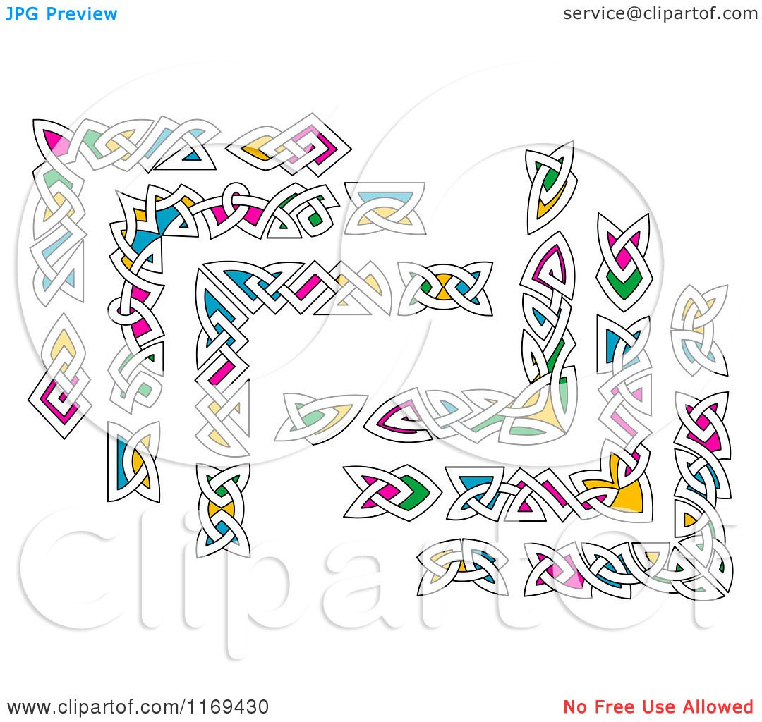 Clipart Of Colorful Celtic Knot Corner Borders Royalty
