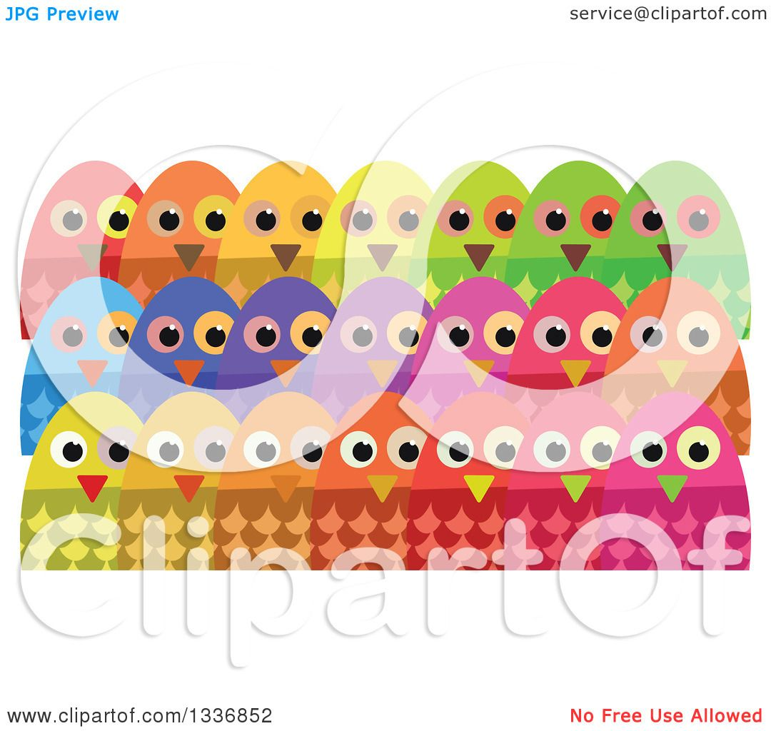 Clipart of Colorful Crowd of Owls - Royalty Free Vector ...
