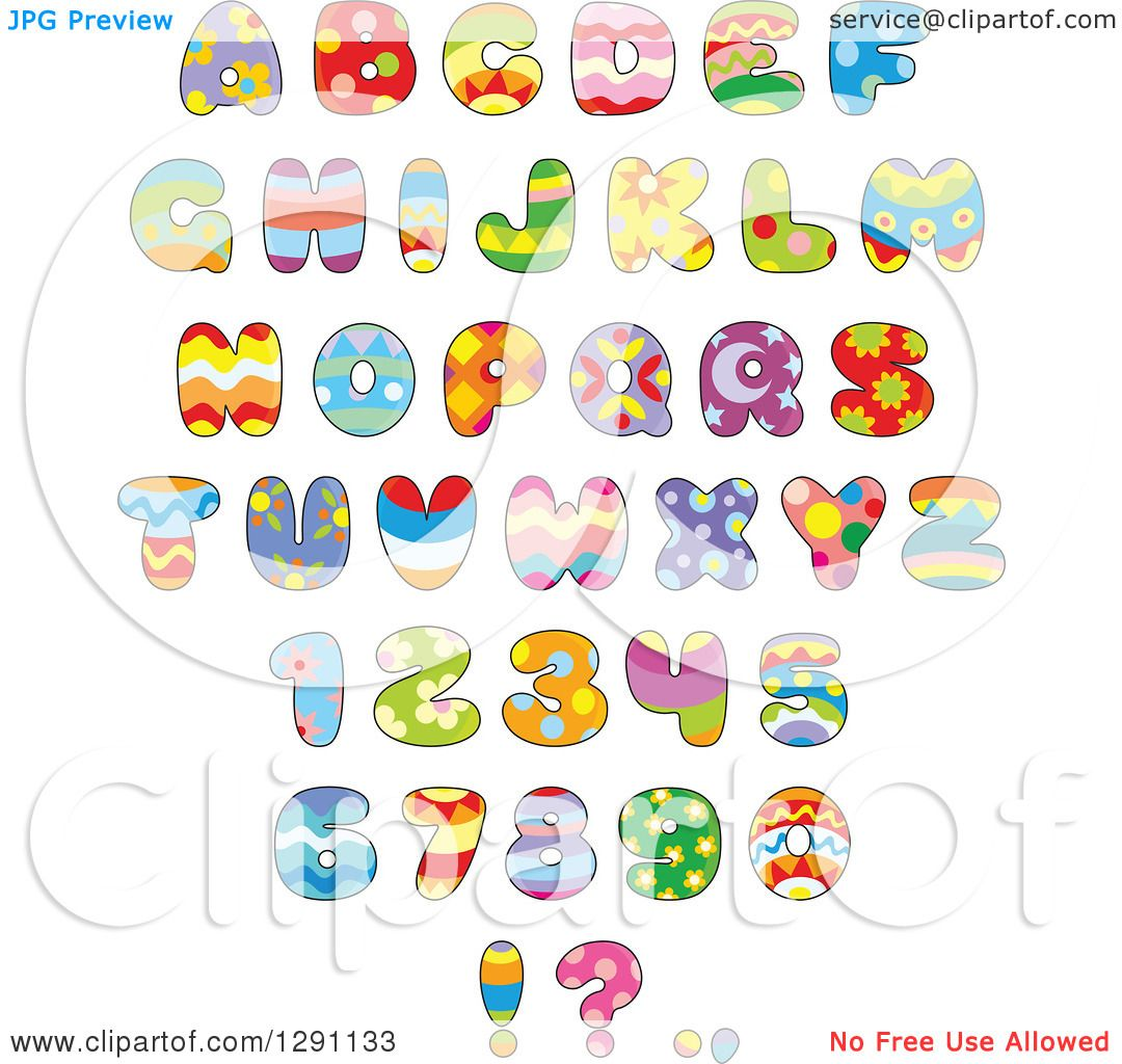 Clipart Of Colorful Funky Patterned Easter Themed Alphabet