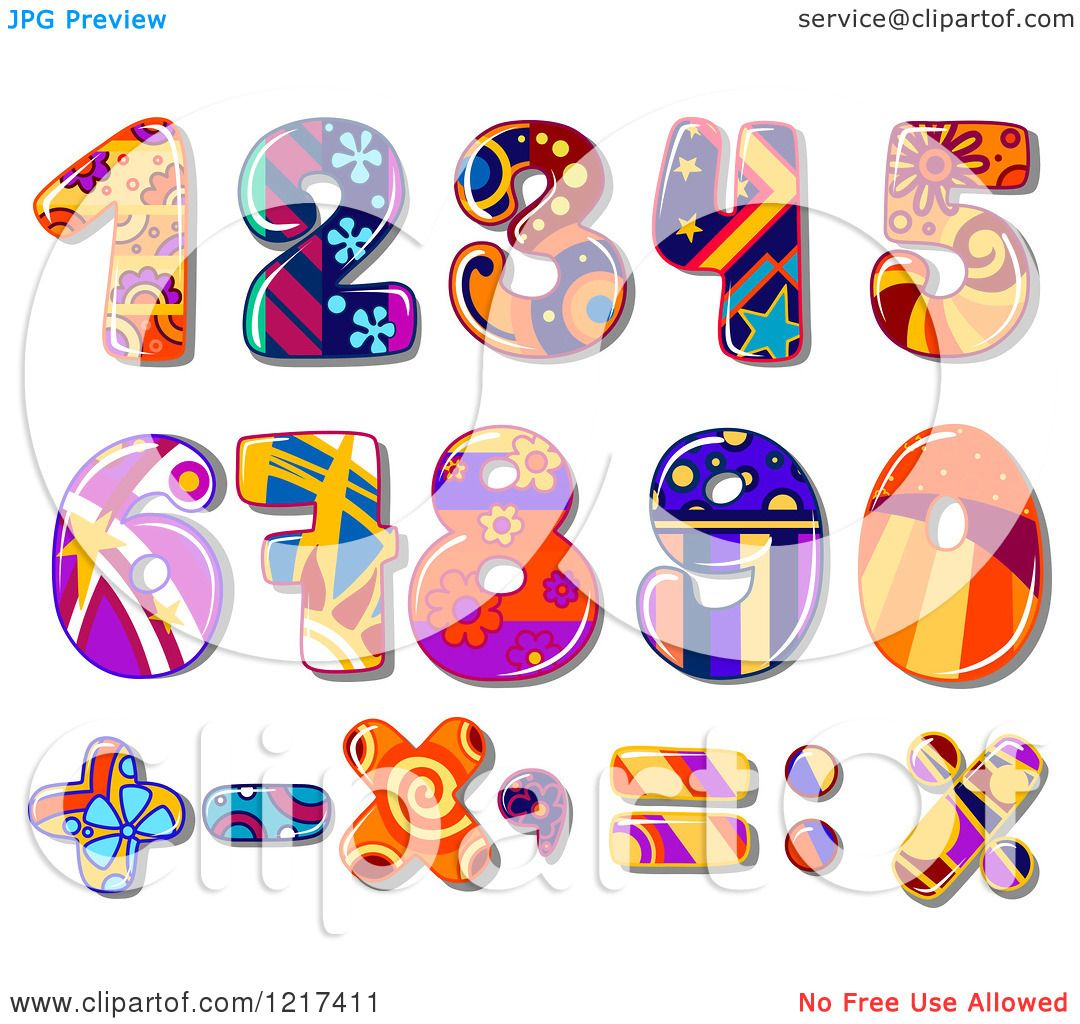 Clipart of Colorful Funky Patterned Numbers and Math Symbols ...