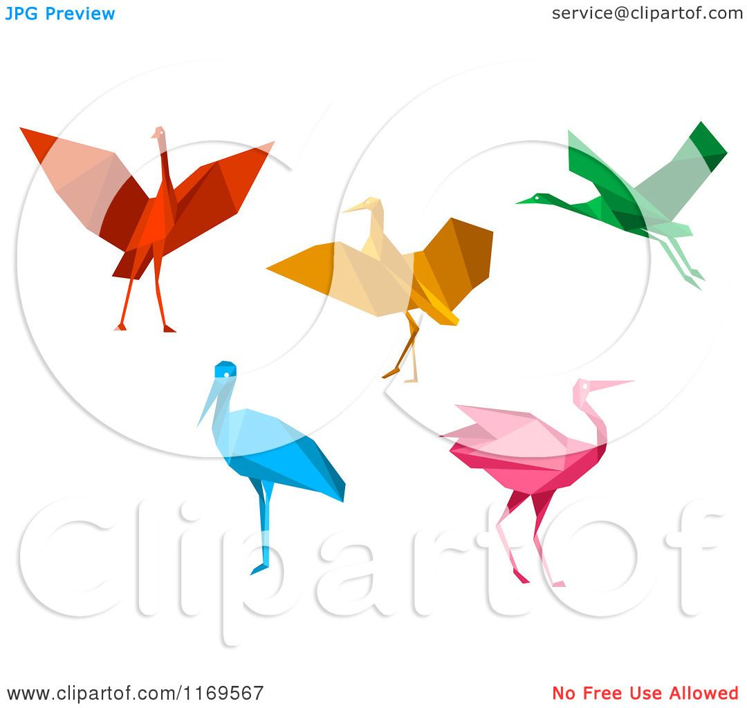 Clipart Of Colorful Origami Heron Stork Or Cranes
