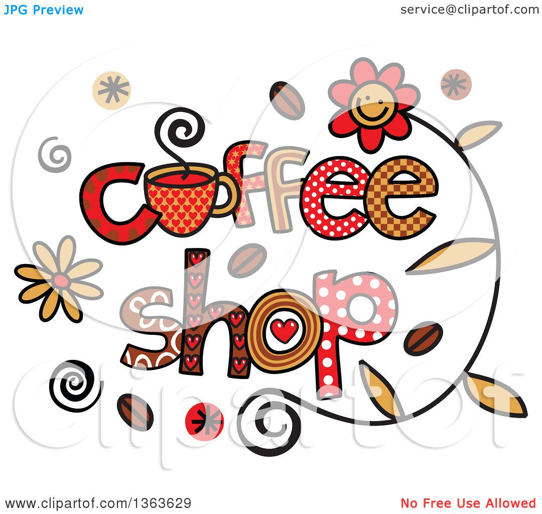 Clipart of Colorful Sketched Coffee Shop Word Art ...