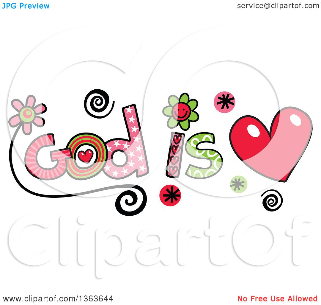 Clipart Of Colorful Sketched Is Love Word Art Royalty Free Vector Il Ration By Prawny