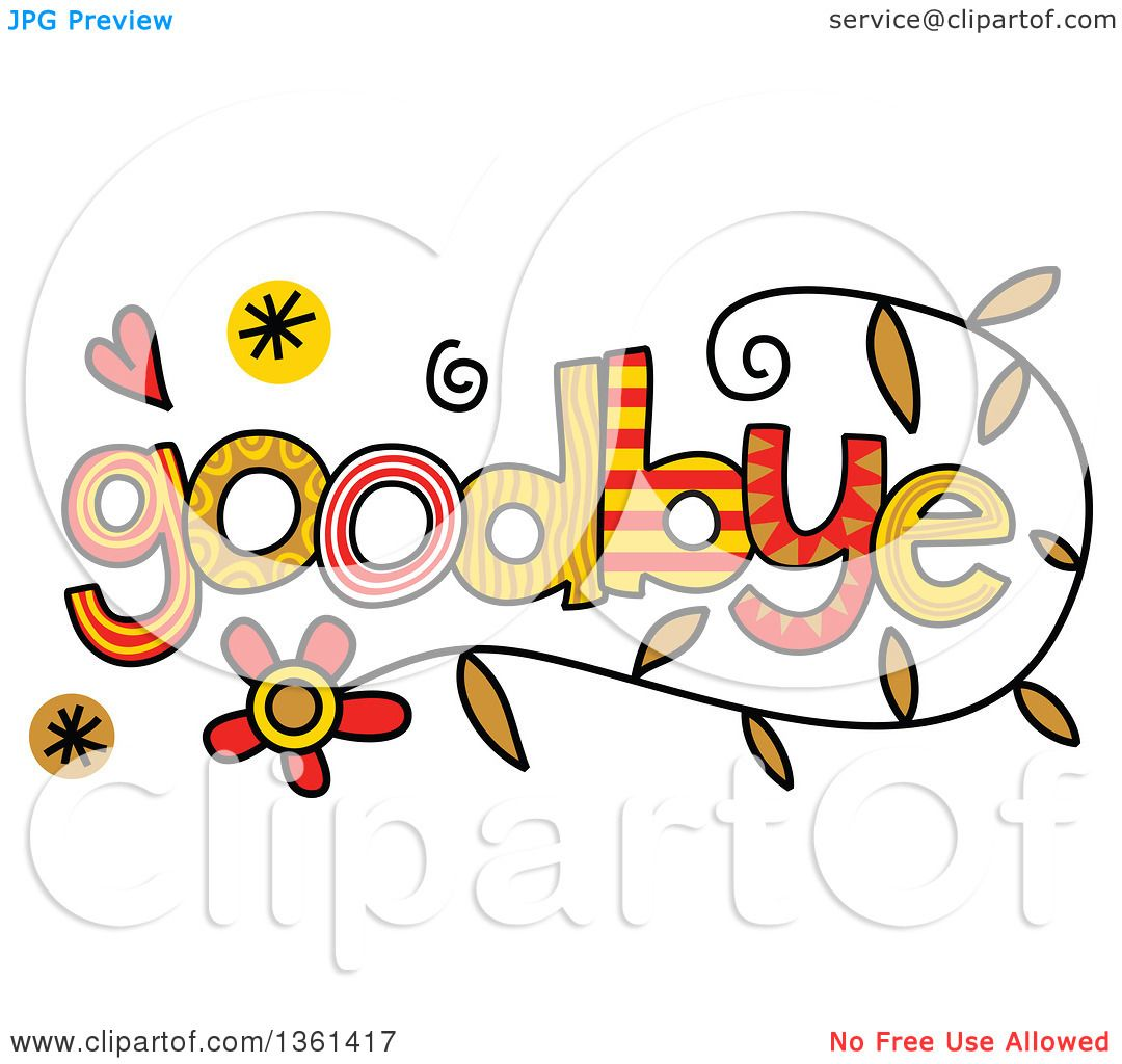 clipart of colorful sketched goodbye word art royalty free vector rh clipartof com