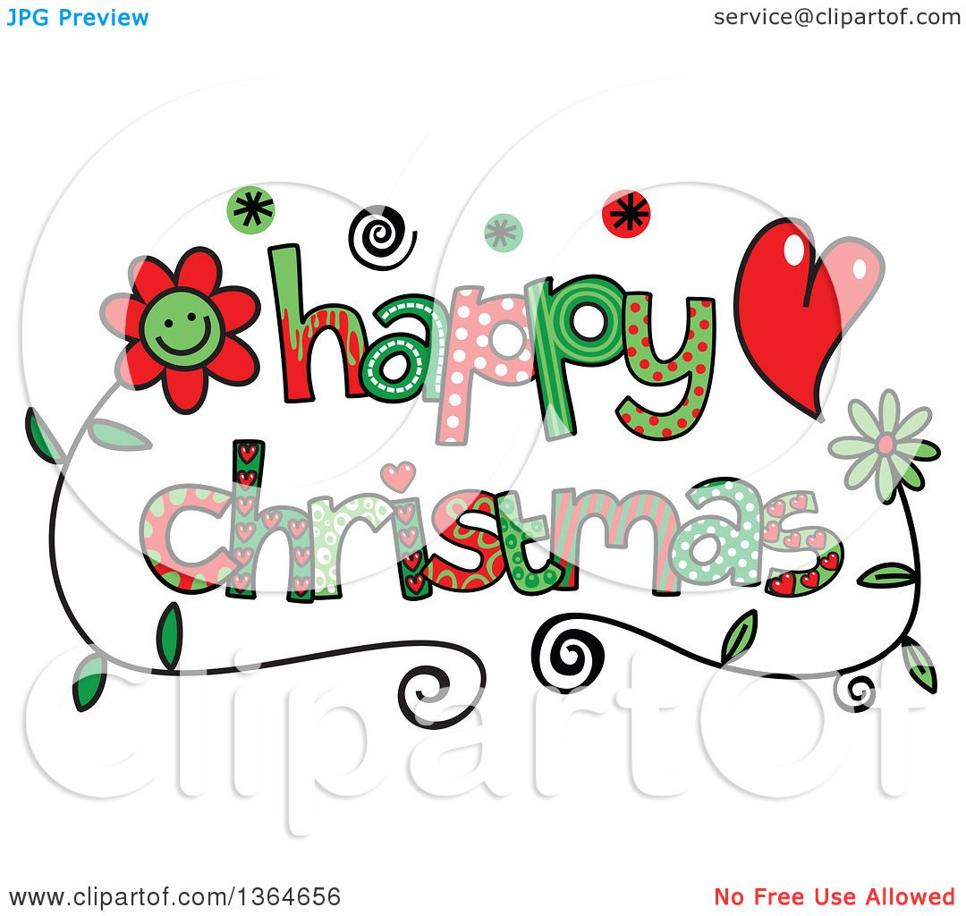 Clipart of Colorful Sketched Happy Christmas Word Art ...