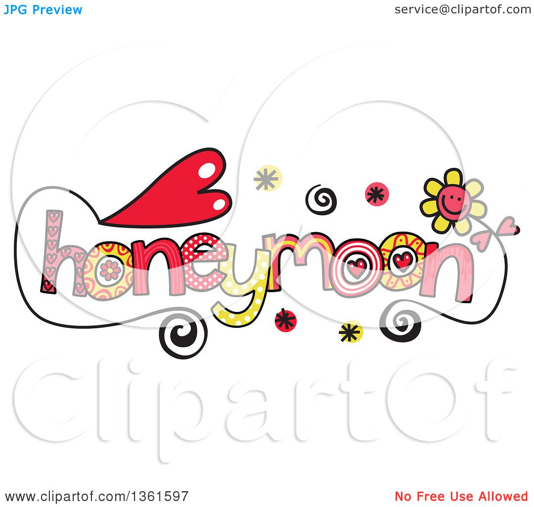 Clipart Of Colorful Sketched Honeymoon Word Art