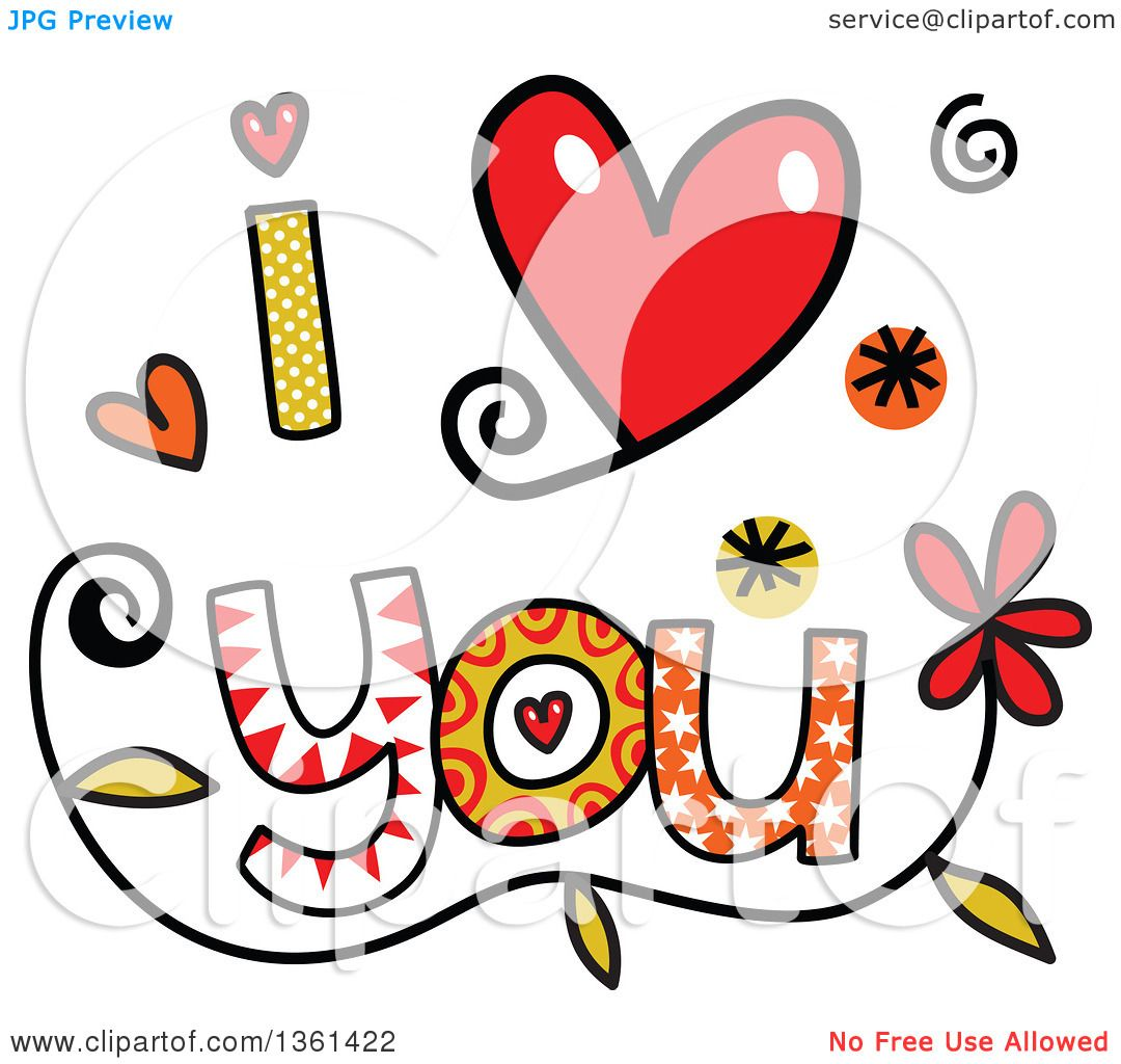 Clipart of Colorful Sketched I Love You Word Art - Royalty Free ...