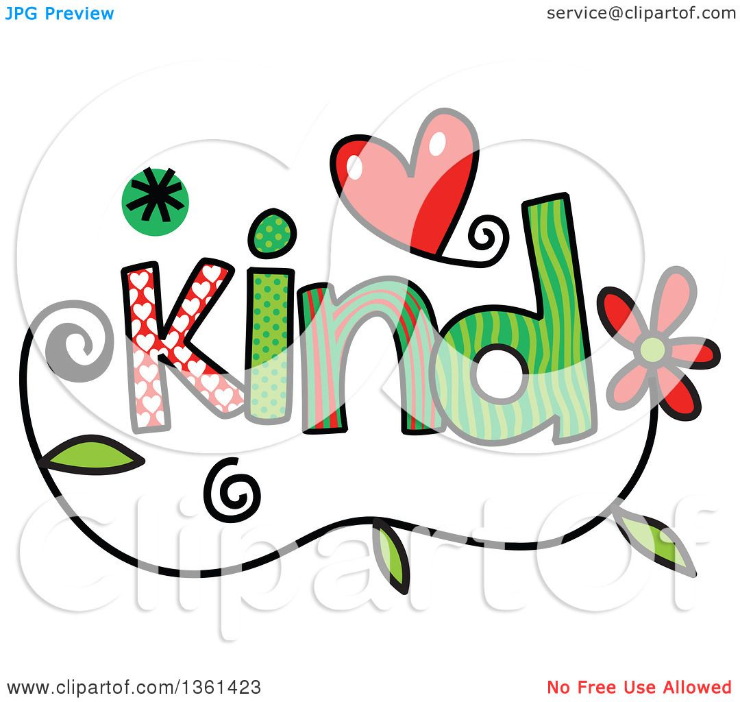 Clipart of colorful sketched kind word art royalty free for Clipart words