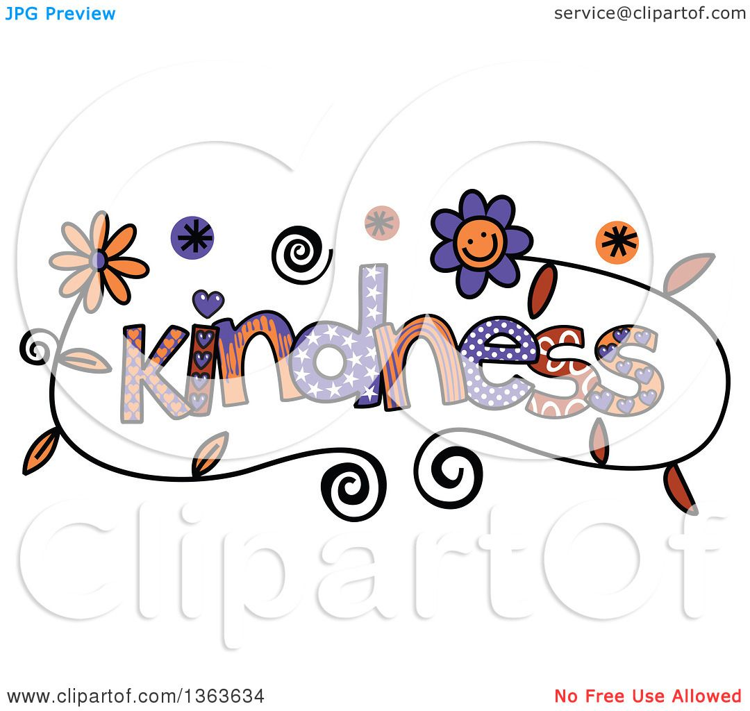 Clipart of Colorful Sketched Kindness Word Art - Royalty ...