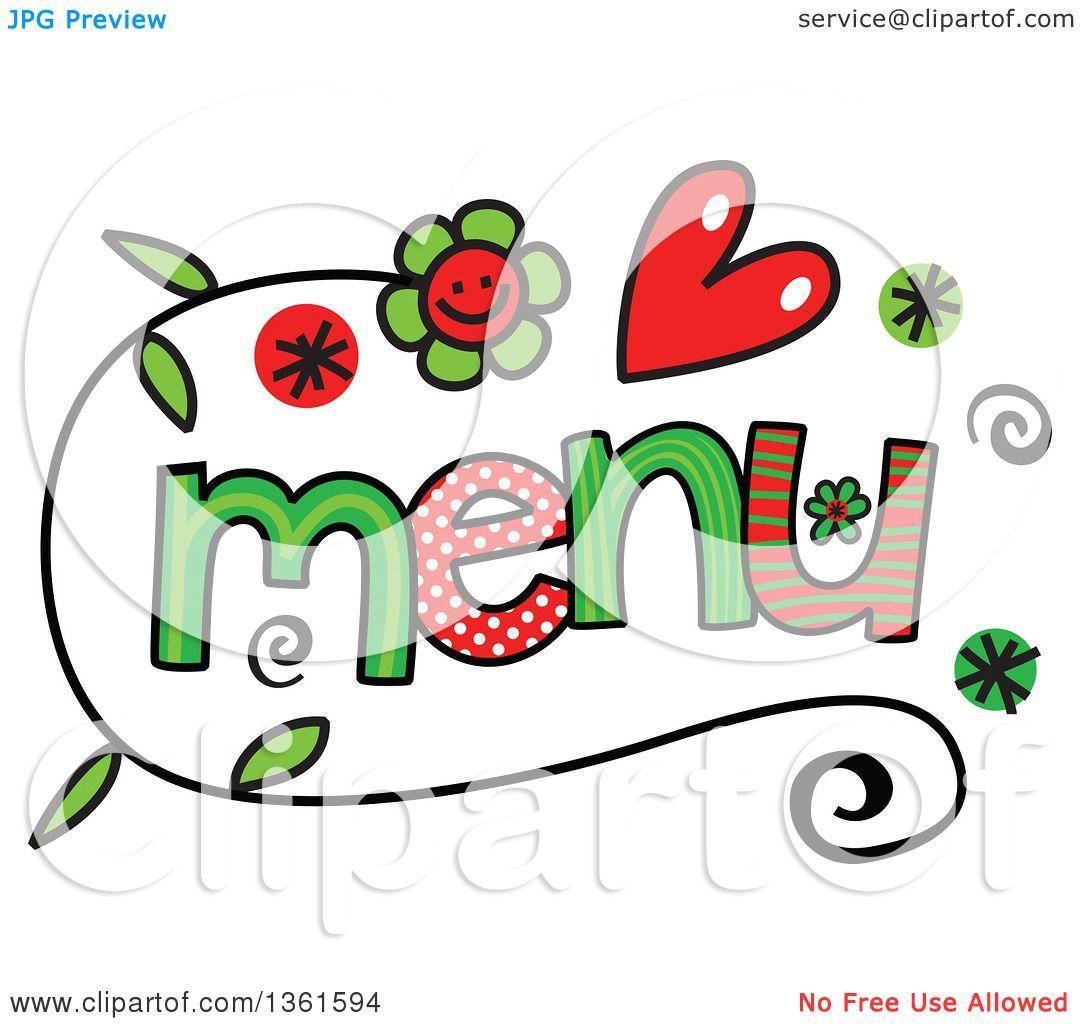 clipart of colorful sketched menu word art royalty free vector rh clipartof com menu clip art images menu clip art black and white