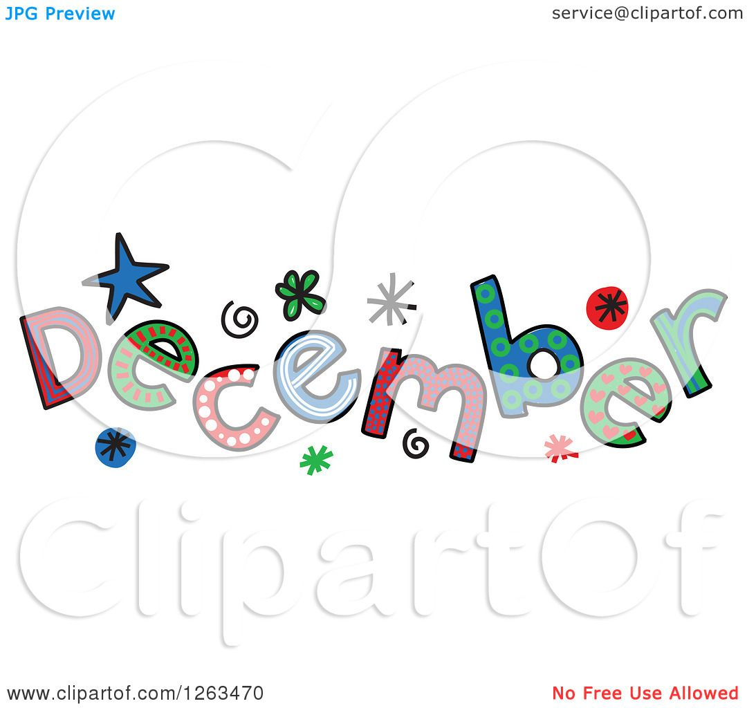 Clipart of Colorful Sketched Month of December Text - Royalty Free ...