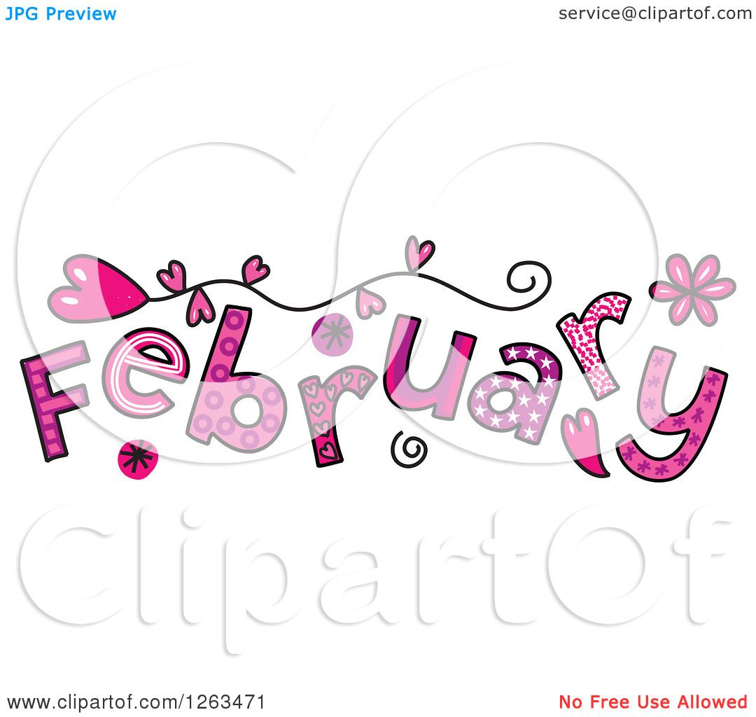 Clipart Of Colorful Sketched Month February Valentines