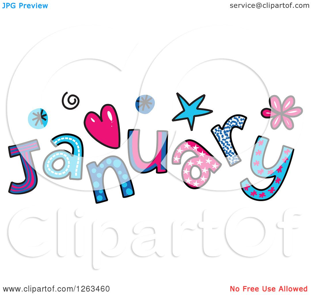 clipart of colorful sketched month of january text