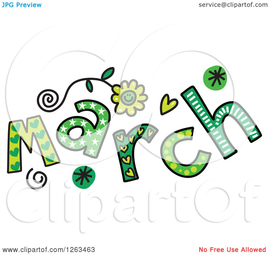 Clipart of Colorful Sketched Month of March Text - Royalty ... (1080 x 1024 Pixel)