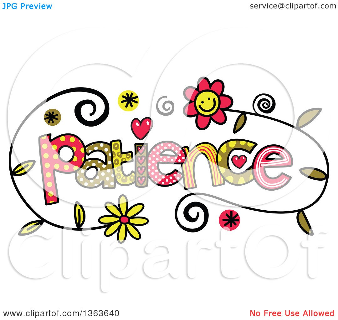 Clipart of Colorful Sketched Patience Word Art - Royalty ...