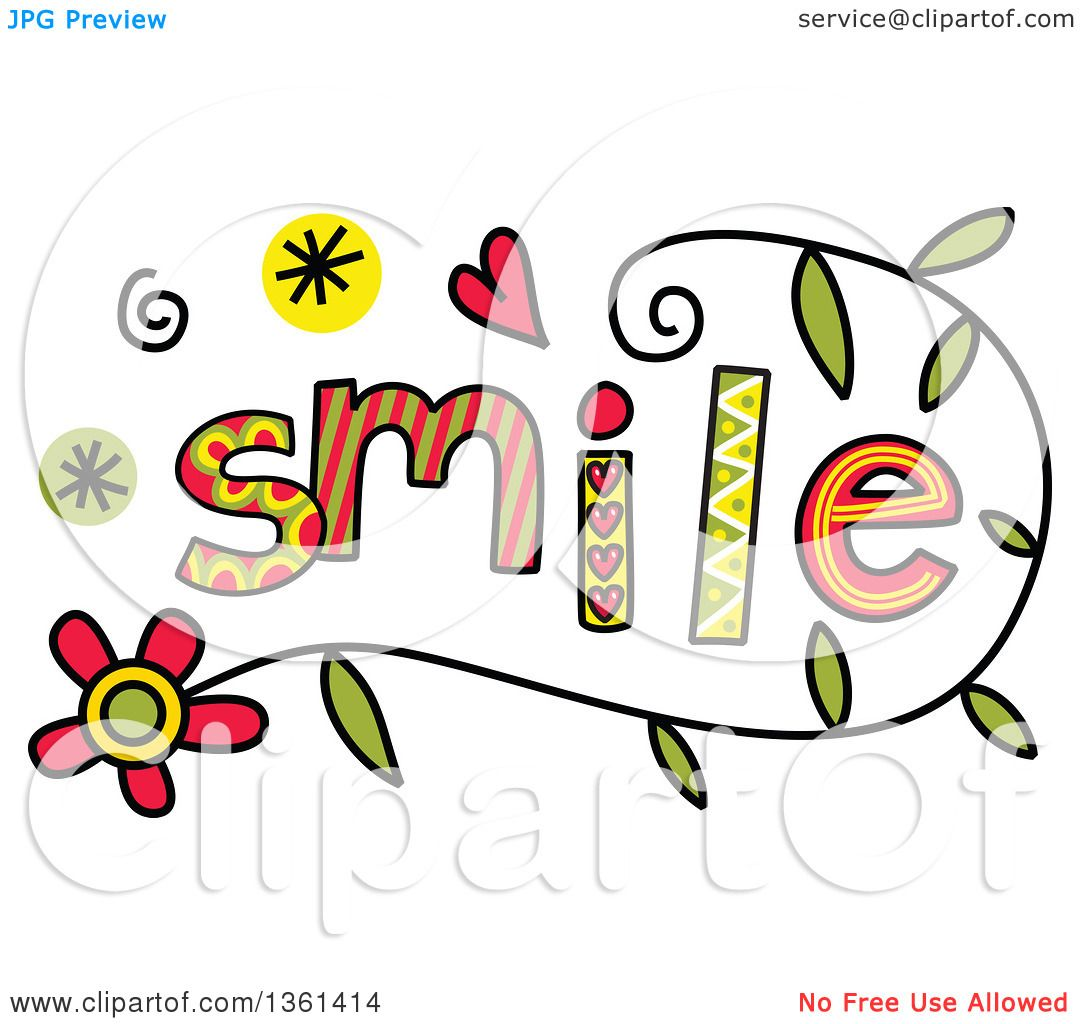 Clipart of colorful sketched smile word art royalty free for Clipart words