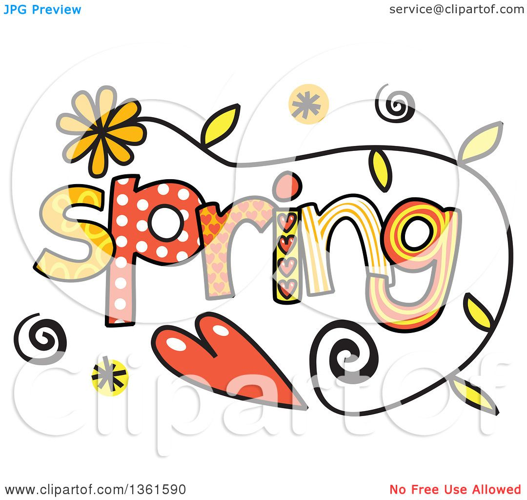 clipart of colorful sketched spring season word art royalty free rh clipartof com spring season clipart spring season clipart images