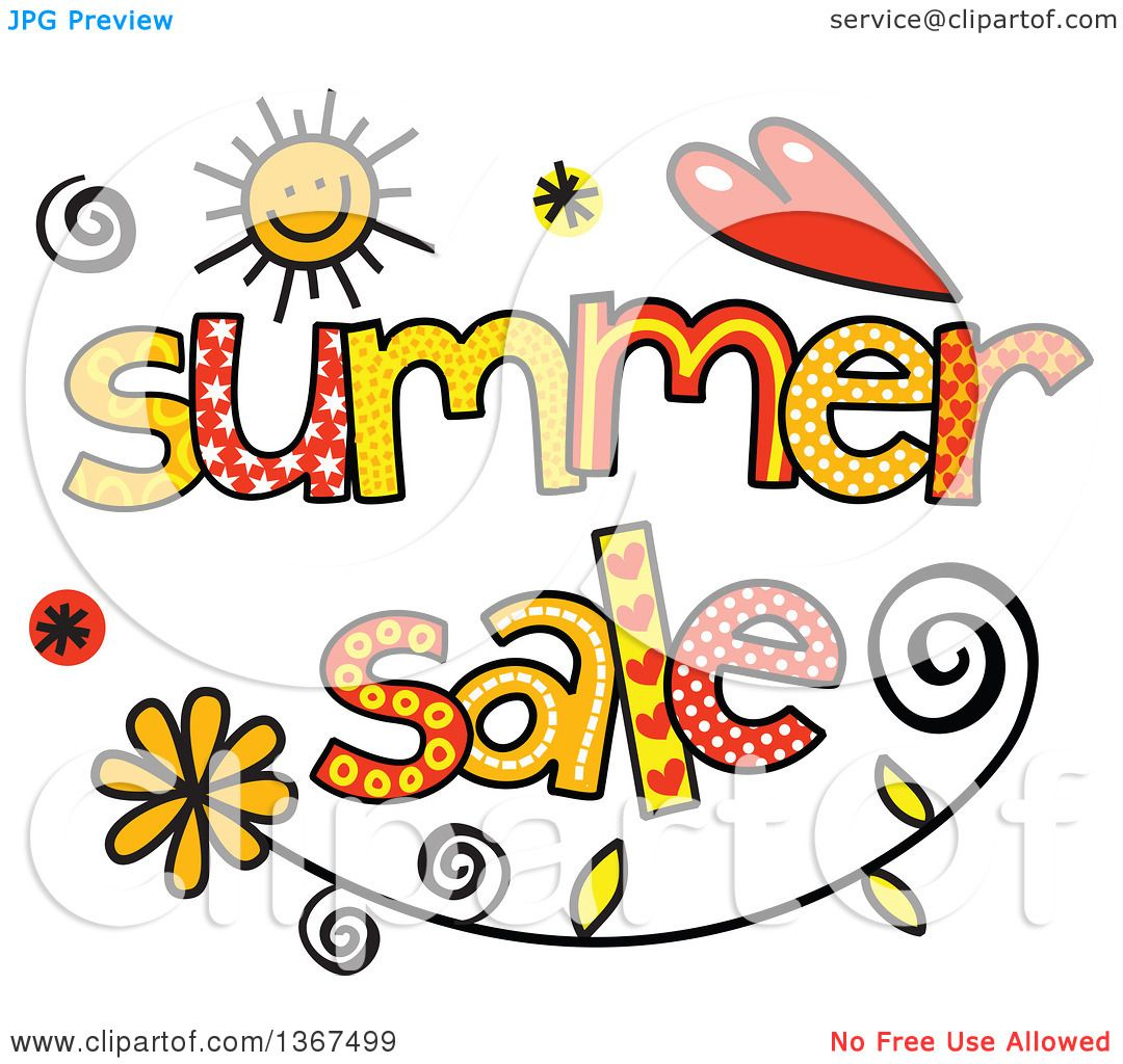 Clipart of Colorful Sketched Summer Sale Word Art ...