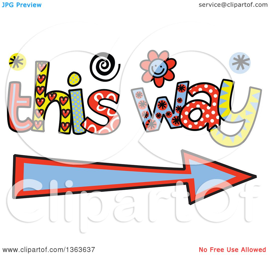 Clipart of Colorful Sketched This Way and Arrow Word Art ...
