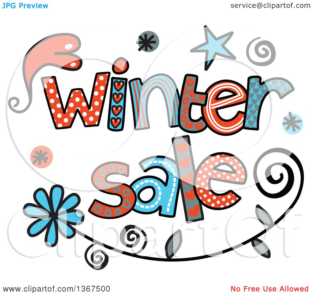 clipart of colorful sketched winter sale word art royalty free rh clipartof com